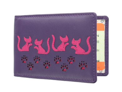 Mala Leather POPPY Collection Travel Pass / Oyster Card Holder 580TC_55 Purple