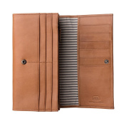 Antica Toscana Women's Large Capacity Genuine Leather Wallet Purse with Zipper Pocket Card Holder and 3 gussets Honey
