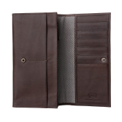 Antica Toscana Ladies Real Leather Long Flap-over Purse Multi Credit Card Wallet with 2 gussets & Inner Zip pocket Chestnut