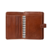 Antica Toscana Ladies Wallet Purse Multi compartment in Real Italian Leather with Zipper Coin Pocket & Card slots Terracotta