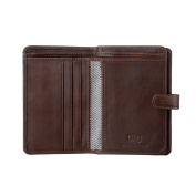 Antica Toscana Ladies Wallet Purse Multi compartment in Real Italian Leather with Zipper Coin Pocket & Card slots Chestnut