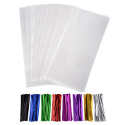 Outus 300 Pack Clear Treat Bags Clear Cello Bags 10cm by 23cm with 320 Pieces Twist Ties 8 Colours for Wedding Cookie Gift Candy Buffet Supply