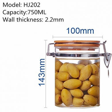 Bamboo cover sealed glass jar tea herbs dried fruit snacks canister kitchen storage bottles ,100*143MM,750ML