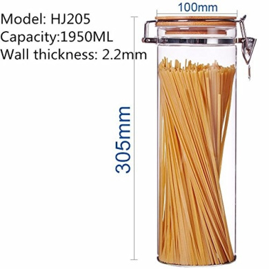 Bamboo cover sealed glass jar tea herbs dried fruit snacks canister kitchen storage bottles ,100*305MM,1950ML