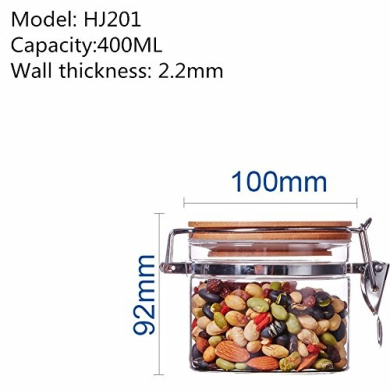 Bamboo cover sealed glass jar tea herbs dried fruit snacks canister kitchen storage bottles ,100*92MM,400ML