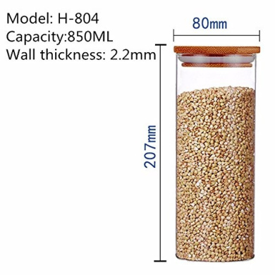 Bamboo cover sealed glass jar tea herbs dried fruit snacks canister kitchen storage bottles ,80*207MM,850ML
