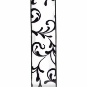 Offray Wired Edge French Damask Craft Ribbon, 5.1cm x 2.7m, White & Black