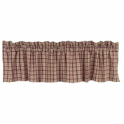 Home Collection by Raghu Salem Cheque Barn Red and Nutmeg Valance, 180cm by 39cm