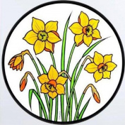 Static Window Clings in a Daffodils Design