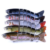 Iuhan 5PC 12.7CM #6 Hook Multi Jointed Baits Fishing Lure Bait 6 Sections Fishing Lure