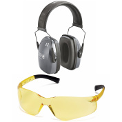 Shooting and Gun Range Kit BUNDLE with Deluxe Howard Leight 1010922 L1 Leightning Earmuff, and S2530 Ztek Amber Shooting Glasses