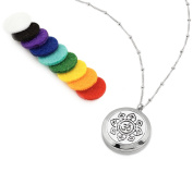 AromaLuxe London Om Aum Essential Oil Diffuser Necklace Aromatherapy Jewellery - Hypoallergenic 316L Surgical Grade Stainless Steel, 50cm Chain + 9 Washable Insert Pads