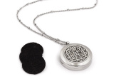 AromaLuxe London Essential Oil Diffuser Necklace - Aromatherapy Jewellery - Hypoallergenic 316L Surgical Grade Stainless Steel, 50cm Chain + 9 Washable Insert Pads