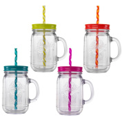 Aladdin 4 Piece 590ml Plastic Mason Jar Set Handled Lidded Tumbler Drinking Cup Mug Glasses & Straws