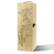 Twisted Envy Happy Mother's Day Butterflies Luxury Wooden Wine Box