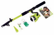 Matt Hayes Adventure (1.8m/6ft) KIDS FROGGA Fish4Fun Telescopic Rod / Matching Reel / Line Weight and Spinning Lure / Key Ring and Guide Book Fishing Combo - Ideal introduction set for young kids [99-6039659]