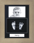 BabyRice Baby Casting Kit / 29cm x 22cm Oak Effect Frame / Black 3 Hole Portrait Mount / Black Backing / Silver Paint