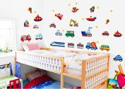 DIY Children Nursery Room Wall stickers Transportation - planes cars trains submarine trucks and all