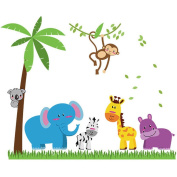Winhappyhome Animals Party Coco Tree Wall Art Stickers for Kids Bedroom Living Room Nursery TV Background Removable Decor Decals