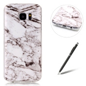 Samsung Galaxy S7 Edge Case - Feeltech [Free 2 In 1 Stylus] Marble Stone Effect Pattern Colourful Painted Jade Designer Soft Ultra Slim Thin TPU Bumper Cover Silicone Gel Skin Rubber Case Flexible Shell Smooth Transparent Back Case Protective For Samsu ..