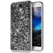 Galaxy S4 Case,[Glitter TPU Case] ikasus Ultra-Slim Scratch-Resistant Shiny Sparkle Bling Glitter Handcraft Electroplated Soft TPU Silicone Rubber Protective Case Cover for Galaxy S4,Black