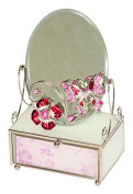 Pink Butterfly Floral Design Jewellery Trinket Box With Mirror By Mele & Co
