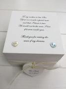 Shabby Personalised Chic Special Mother of the Groom gift from the Bride Wedding day Thank you Gift Trinket Jewellery Box