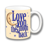 Love You to the Moon & Back Cream Dark Blue Ceramic Coffee Mug Christmas Gift Stocking Filler