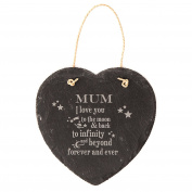 Engraved Heart Hanging Slate Sign 14cm I love you to the moon and back, to infinity and beyond forever and ever