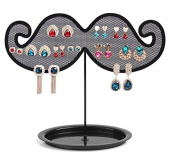 E-Meoly Metal Moustache Earrings Ear Studs Jewellery Organiser Storage Hanger Display Plate Tray Necklace Bracelet Wire Mesh Display Holder Stand Rack