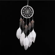 1 Pcs Indian Craft Gift White Dream Catcher with Feather Kid Gift Wall Hanging Decoration Ornament