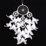 Indian Wind Chimes Dream Catcher Craft Gift with Feather Kid Gift Wall Hanging Decoration 1 Pcs-White