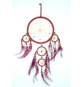 Large Red Velvet Handmade Dreamcatcher 50x25 cm