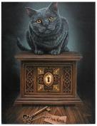 Lisa Parker - Pandora's Box 25cm x 19cm Canvas Print - Black Cat & Box
