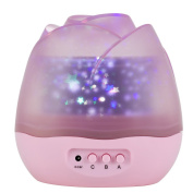 SlowTon Stars Sky Night Light Lamp, Romantic Rose Shape with Colour Changing Moon Stars Cosmos Rotating LED Nightlight Projector for Kids Gift Baby Girl Bedroom