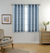 Miuco Floral Embroidery Semi Sheer Curtains Faux Linen Grommet Curtains for Bedroom 130cm x 160cm 2 Panels, Dusty Blue