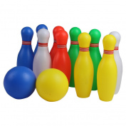 12 Pcs Skittles Bowling Set Toy Outdoor Indoor Bowling Pins Game with 2 Balls for Kids over  .   Old.