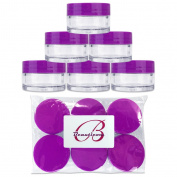 Beauticom 20G/20ML Clear Round Sample Container Jars with Purple Lids for Lotion, Creams, Toners, Lip Balms, Cosmetic, Makeup - BPA Free