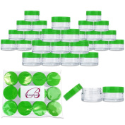 Beauticom 20G/20ML Clear Round Sample Jar Containers with Green Lids for Lotion, Creams, Toners, Lip Balms, Cosmetic, Makeup - BPA Free