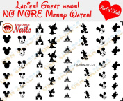 Mickey Disney Black and White Nail Art Decals. Clear Vinyl PEEL and STICK Nail Decals (NOT WATERSLIDE) Set of 53 by One Stop Nails CV-MBW-001-53