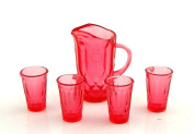 Melody Jane Dolls House Cranberry Jug & Glasses Pitcher Tumblers Miniature Dining Accessory