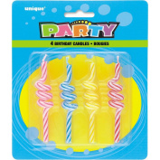 Striped Curly Birthday Candles, Assorted Pack of 4