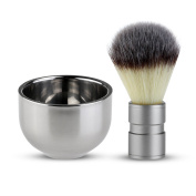 Badger Hair Shaving Brush with Double Layer Stainless Steel Shave Bowl Mug
