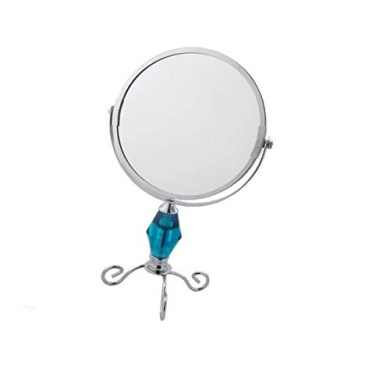 Garrelett Stand Cosmetic Mirror, Rotate Dual-Side Normal Mirror & 5X Magnifying Glass, Beauty Make up Mirror Nickel Finish 15cm
