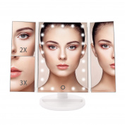 BESTOPE Lighted Vanity Mirror 21 LED Lighted Makeup Mirror with 2X/3X LED Magnifying Mirrors for Countertop Desktop Cordless Cosmetic Spot Mirror Power by Battery or USB Charging