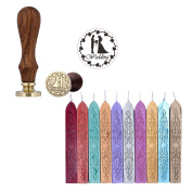 Yoption 10 Pcs Totem Fire Manuscript Sealing Wax Sticks with Wicks and Romantic Seal Stamp for Postage Letter