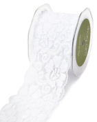 May Arts 490-25-01 White 6.4cm Elastic Lace Ribbon,White,10 yd