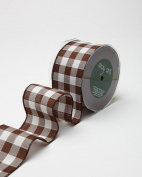 May Arts 450-25-33 Brown/White 6.4cm Wired Cheque Ribbon,Brown/White,20 yd