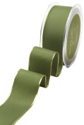May Arts 539-15-15 Green/Gold Edge 3.8cm Solid with Metallic Edge,Green/Gold Edge,25 yd