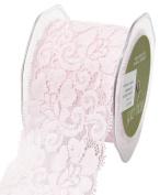 May Arts 490-25-17 Pink 6.4cm Elastic Lace Ribbon,Pink,10 yd